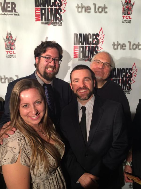 Producer Allison Vanore, Director Matt Jackson, Producer Andy Gunn, Actor Mike Mcshane at Dances with Films. In height order it seems.